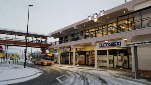 この日の宿泊地、須坂の駅(翌朝に撮影)。