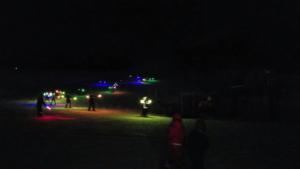 松明(LED)滑走の様子。