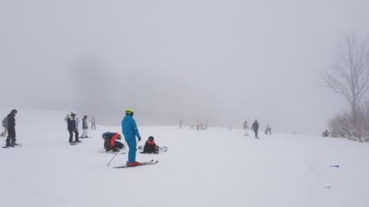 みつまたゲレンデ。人は多く視界もいまいちだけど、雪面状態は良好。