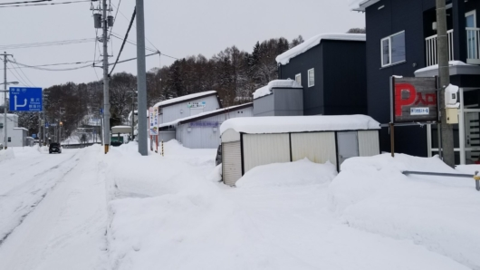 伊ノ沢市民スキー場の入口。周辺は普通の住宅街。