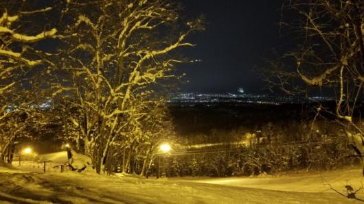 ツリーラン的気分が味わえる一画。旭川の夜景もこの通り。
