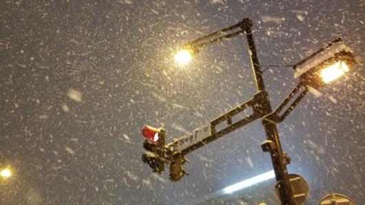 前日夜の旭川市街での降雪。