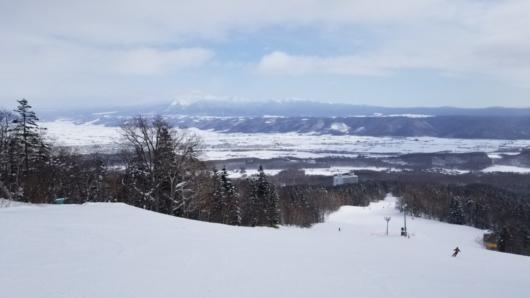富良野エリア中腹からの眺望。正面は大雪山。