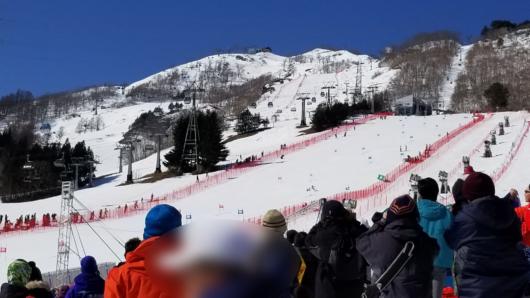 長いGSコースを滑り切る直前の選手に大きな歓声が送られる。